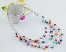 Hot sale New 3sets Fashion random Beads Choker Bib Necklaces&Earrings set MYL973