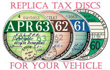 TAX DISCS.4QUALITY REPLICA REPRO[ CORRECT FONTS.1921 THE FUTURE or MOT REMINDER¬