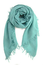 Chan Luu Soft Cashmere & Silk Scarf Wrap Solid MINERAL BLUE BRH-SC-140 RARE!