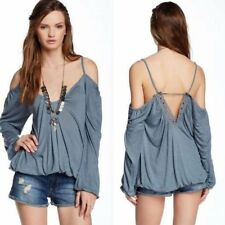 129260 New Free People Adelia Boho Top Cutout Gray Off Shoulder Blouse Top S US