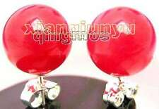 SALE Big 9-10mm Red High Quality perfect Round Jade stud earring-ear130