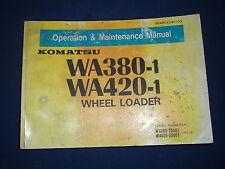 KOMATSU WA380-1 WA420-1 WHEEL LOADER OPERATION & MAINTENANCE BOOK MANUAL 20001-