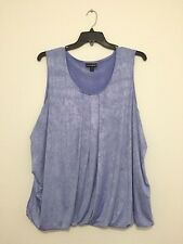 Fashion Bug Plus Size Baby Blue Scoop Neck Tank Top Shirt Blouse Tee 3X New
