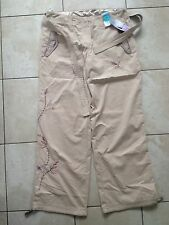 Marks & Spencer Ladies Beige Hand Beaded Trousers With Belt Size 14 Medium. New.