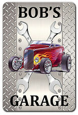 PERSONALIZED HOT ROD GARAGE ART METAL SIGN