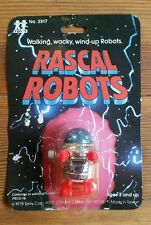Vintage NIP 1978 TOMY Rascal Robots Wind-Up Toy - No. 2517 Silver/Red/Blue NEW!