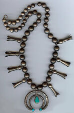 VINTAGE NAVAJO INDIAN SILVER SQUASH BLOSSOM TURQUOISE NAJA NECKLACE