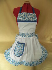 RETRO VINTAGE 50's STYLE FULL APRON / PINNY - WHITE with BLUE ROSES