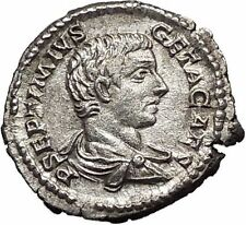 GETA 207AD Silver Rare Ancient Roman Coin Minerva with shield Athena i55717