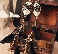 WOMEN FASHION LONG BLACK FEATHER FACE MASK EARRING STUD DANGLES JEWELRY GIFT