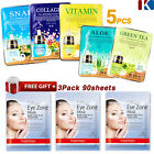 Korean Face Mask Sheet Moisture Essence Facial Mask Pack 5pcs+FREE GIFT 90Sheets