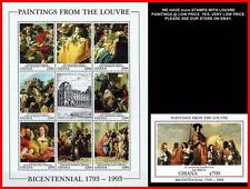 LOUVRE MUSEUM = GHANA 1993 MNH  **  TIEPOLO PAINTINGS M/S + S/S JUDAICA DENTAL