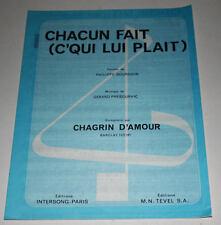 Partition sheet music CHAGRIN D'AMOUR : Chacun Fait C'Qui Lui Plaît * 80's