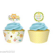 HAPPI TREE OWL CUPCAKE WRAPPERS AND TOPPERS (12) ~ Baby Shower Party Supplies