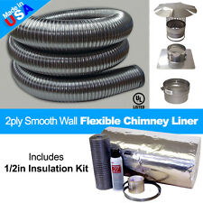 6'' x 20' Flexible Smooth Wall Chimney Liner Insert Kit w/ .5in Insulation