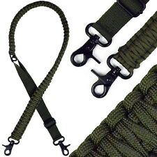 Adjustable Paracord Rifle Gun Sling Strap Dual Point With 360 Swivels OD Green