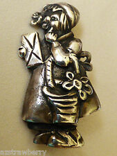 Figural Sterling Silver 925 Girl with basket Little Red Riding hood pin brooch