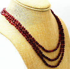 Fashion boutique 3 rows 4 mm faceted Red garnet bead necklace 17-19 ""
