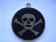 RARE VINTAGE TON UP PIRATES SKULL MOTORCYCLE BIKE CHOPPER OLD SIGN METAL PENDANT