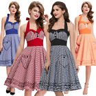 Vintage Housewife 40's 50's Polka Dots Pinup Dress Cocktail Party Halter Dress