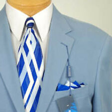 46L  Mens Ibiza Steel Blue Sport Coat  100% SILK 46 Long - IA01