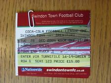 28/12/2004 Ticket: Swindon Town v Brentford