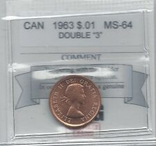 **1963 Dbl 3**,Coin Mart Graded, Canadian, Small One Cent, **MS-64**