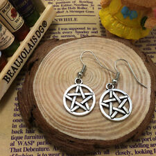 Free shipping Antique Silver Jewelry Pentagram earring B^P01
