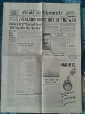 News Chronicle Newspaper-WW2- Nov 7th 1941-Finland going out of the War.