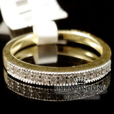LADIES WOMEN'S 10K YELLOW GOLD GENUINE DIAMOND 2MM WEDDING ENGAGEMENT RING BAND