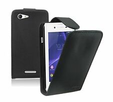 Black Leather Flip Case For Sony Xperia E3 experia - Vertical Cover Pouch