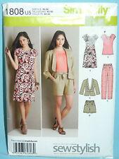 Uncut Simplicity Sz 16-24 Pants Shorts Knit Dress Top & Tie Belt Pattern 1808