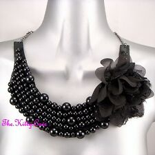 Large Gothic Black Beads Lace Fabric Flower Corsage Bib Statement Oasis Necklace