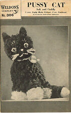 Soft and cuddly cat toy  knitting pattern. Laminated copy.