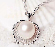 Women Fashion Fresh Silver Pearl Shell Wedding Charm Jewelry Pendant Necklace