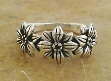 PRETTY .925 STERLING SILVER SUN FLOWER BAND RING size 6  style# r1859