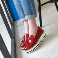 Classic Womens Creeper Tassels Wedge Platform Vintage Shoes Loafers Faux Leather