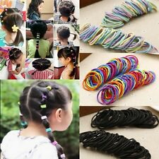 100pcs Black Elastic Rope Women Baby Girl Hair Ties Ponytail Holder Head Band