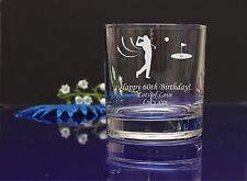 Personalised Golf engraved whiskey glass Birthday, Christmas present gift6