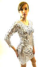 Nouvelle Femme Robe silver fétichisme Club moulante street dance jazz 8 10 12