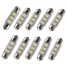 10x 36MM 3 SMD 5050 LED Car Festoon Interior Dome Light Lamp Bulb Pure White 12V