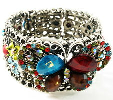 Fashion BRACELET Rhinestone Crystal Alloy Adjustable gemstone Bangle bead SILVER