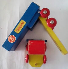 Vintage wooden Transporter by HEROS  Made in Western Germany - Blue Red and Yell