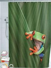 Frog Climbing on Green Water Reeds Leafs Shower Curtain Polyester 180cm X 180cm