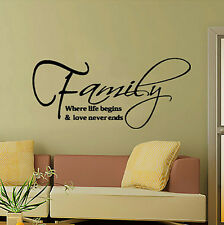 Family Quote Removible Pegatina de Pared Arte vinilo adhesivo Decor para casa