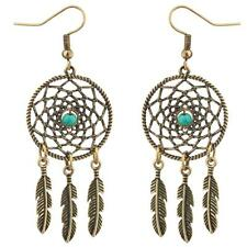 Lux Accessories Dreamcatcher Leaf Tribal Turquoise Stone Dangle Earrings