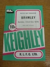 22/10/1978 Rugby League Programme: Keighley v Bramley  (Team Changes). Condition