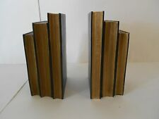 "Black & Burnished Gold ""Book"" Bookends, Stand 7.5"" Tall, Bookcase or Desk"