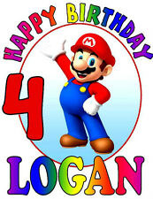 SUPER MARIO HAPPY BIRTHDAY T-SHIRT Personalized Any Name/Age Toddler to Adult