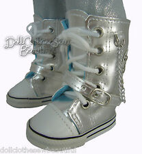 """Trendy Metallic Silver Sneakers Boots Shoes for 18"""" American Girl Doll Clothes"""